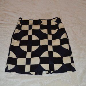 J. Crew 8 Black White Geometric Pencil Skirt